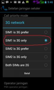 koneksi Android menjadi 3G Only