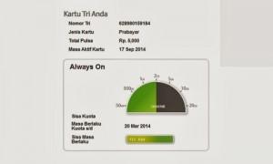 Cara Cek Kuota Internet Tri (Always On) Terbaru 2014
