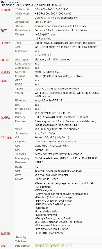 Harga dan Spesifikasi Samsung Galaxy Note 3 Neo Duos